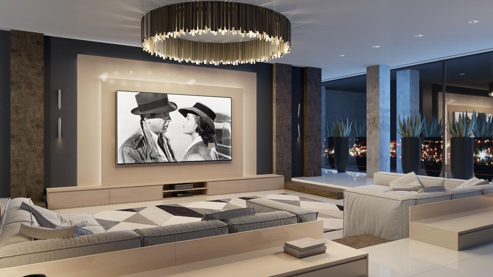 Planejados para Home theater-Laccato-Champagne-Fantasy-Colore-Corten-
